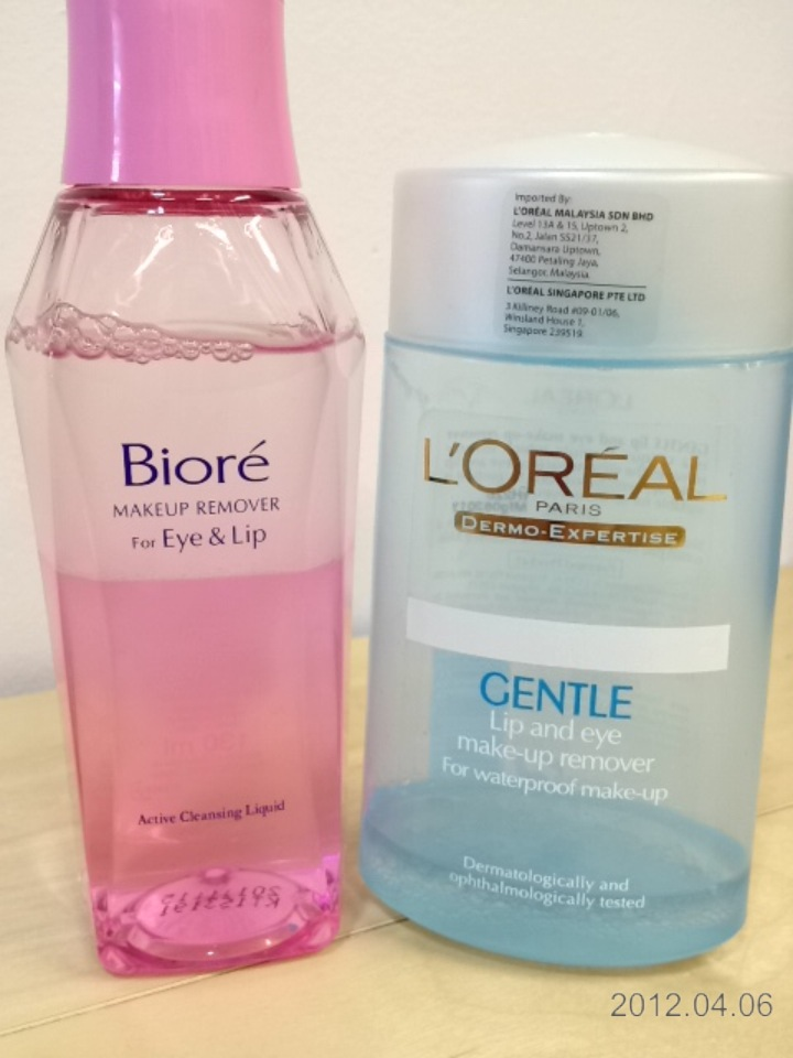 Left: Biore Makeup Remover for Eye & Lip: Right: L'oreal Gentle Lip and Eye Makeup Remover for Waterproof Makeup.